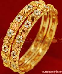 Latest South Indian Bangles Design Bs038 2 4 Size Gold Plated Flower Design South Indian Stone