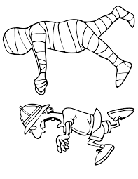 Small Picture Mummy Coloring Page Mummy Chasing Archaeologist