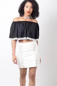 stylish white pu lace up mini skirt stylish skirts faux leather skirts