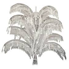 stainless steel and cut crystal palm tree chandelier for