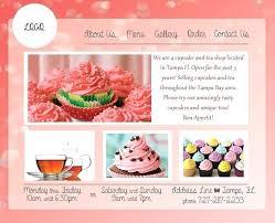 Bakery Cupcake Shop Menu Template Design Templates Website Business