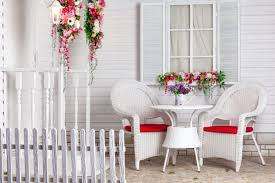 decorating with wicker furniture. A Front Porch With White Wicker Furniture And Plants Decorating R