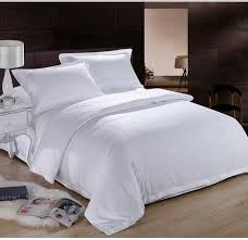 pure white hotel home textile 100 cotton bedding set queen king size 4pc solid color duvet cover bedclothes bed sheet linen set in bedding sets from home
