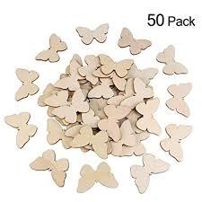 Buy Tinksky 50pcs Wooden Butterfly Shapes Craft Blank