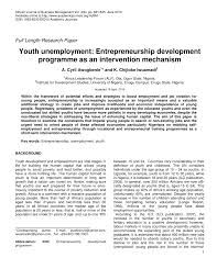 youth unemployment entrepreneurship development programme as an youth unemployment entrepreneurship development programme as an intervention mechanism pdf available