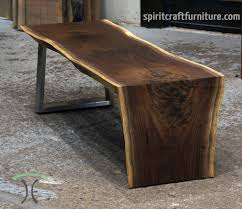 waterfall coffee or cocktail table from solid kiln dried black walnut on single stainless tzoid leg balck walnut live edge