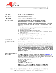 Teacher Resumes Resume For Substitute Image Examples Resume Sample