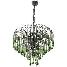 italian murano crystal teardrop waterfall chandelier 1950s for