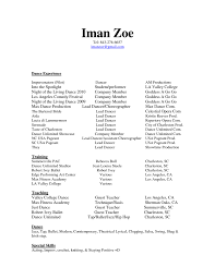 Dance Resume Sample For College Job And Resume Template