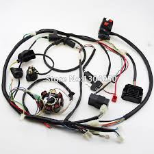 buggy wiring harness loom gy6 cdi electric start stator 8 coil c7hsa spark plug switch engine