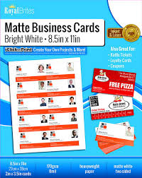Royal Brites Business Cards Template Blank White Printable Business Cards Matte Geographics 44480