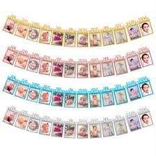 details about 1st birthday recording 1 12 month baby photo bunting banner party decor gift diy