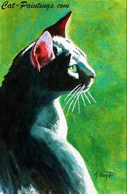 tickles the black beautiful cat painting