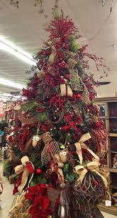 christmas trees decorated with burlap ribbon - Google Search