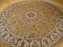 luxury high end silk rug large round shape rugs 8x8 gold 8 circle rugs persian