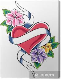 Obraz Srdce A Květiny Tetování Na Plátně