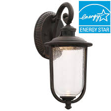 hampton bay perdido rust outdoor led motion sensor wall mount lantern