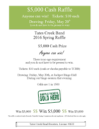 band raffle information tatescreekbands