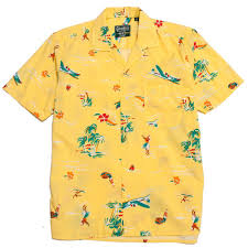 Gitman Vintage Bros Yellow Surf Turf Camp Shirt