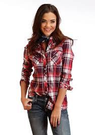 Tin Haul Womens Western Shirt Red Wine Plaid
