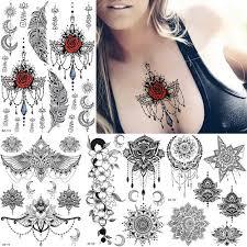 řetězy Falešné šperky Mandala Květina Dočasné Tetování Samolepka Realistické Omyvatelné Vodotěsné Beatuy Tattoo Jednorázové Tělo Art Arm Zápěstí