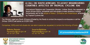 minister sisulu calls on south africans to make donations for flood relief in neighbouring countries affected