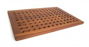solid teak bath mat