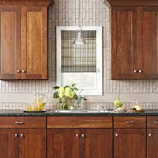 Wood Stove Backsplash Fascinating Natural Woodfinish Cabinets With A Subway Tile Backsplash I Love