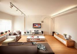 track lighting living room. Modern Living Room With White Walls And Black LED Track Lighting S