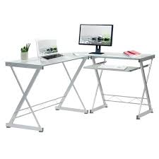 glass top computer desk l shaped tempered glass top computer desk with pull out keyboard panel