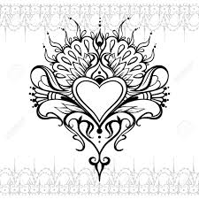frame tattoo designs. Sketch Of Tattoo Henna Heart. Mehndi Element For Photo Frame, Design, Card Frame Designs