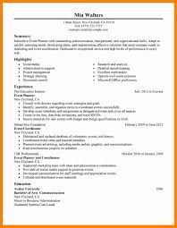 Resumes Event Planning Resume Highlights Planner Words Events