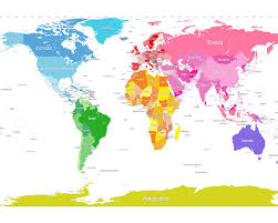 World Map Posters Continents World Map Large Text For Kids Poster