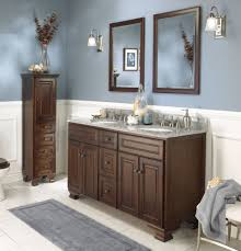 white and grey wall color with deep brown vanity for traditional bathroom ideas
