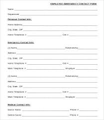 Employee Emergency Contact Form Template Contact Information Form Template Employee Change Free Excel