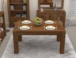 Linea Solid Walnut Home Dining Room Furniture Four Seater Dining - Walnut dining room furniture