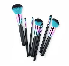 aliexpress 7pcs devil green nylon soft hair blending makeup brushes colourful copper beauty face makeup brush set contour powder brush from