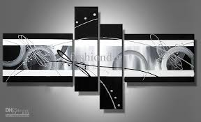 stretched abstract oil painting canvas black white grey artwork modern decoration handmade home office hotel wall art decor free ship gift abstract oil