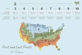 Growing Zone Chart Usa First And Last Frost Dates By Usda Zone