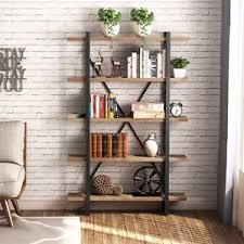 Image is loading 5-Shelf-Vintage-Industrial-Bookcase-Wood-and-Metal-
