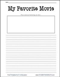 writing worksheets printable writing prompt worksheet for  movie essay topics k 2 my favorite movie printable writing prompt worksheet