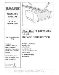 craftsman 13953800srt user manual 1 2 hp garage door opener manuals and guides l0804477