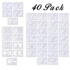 Templates Alphabet Letters Letter Stencils 40 Pack Alphabet Letter Templates For Painting On Wood And Wall Reusable Plastic Art Craft Stencils With Numbers And Signs For