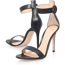 black leather high heel sandals