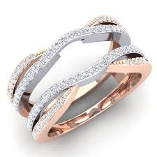 rose gold wedding bands for women. amazon.com: 0.50 carat (ctw) 14k white \u0026 rose gold two tone diamond wedding band enhancer guard double ring 1/2 ct: jewelry bands for women