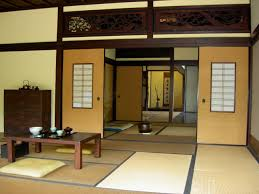 Yellow Wall Paint With Sliding Door In Japanese Interior Design Of Living  Room With Low Living ...