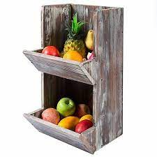 kitchen fruit storage wood wall mount