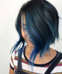 Subtle Blue Highlights 23 Beautiful Blue Black Hair Color Ideas To Copy Asap Stayglam