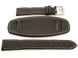 watch strap leather dark brown with wrist pad monte 02