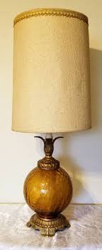 Hollywood Regency Amber Crackle Glass Table Lamp